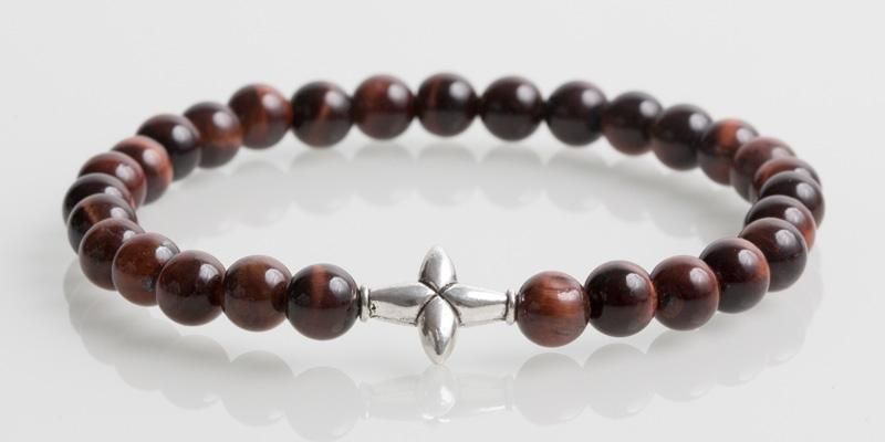 Iconbracelets Cross Red Tiger Eye