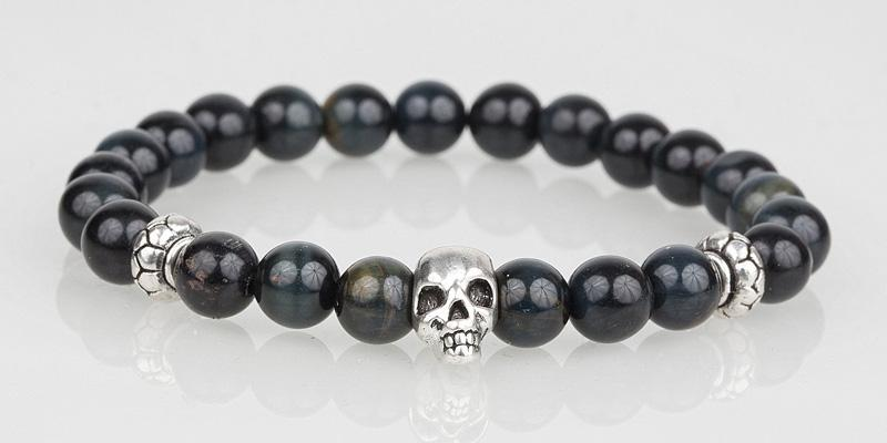 Iconbracelets Dark Grey Tigereye skull