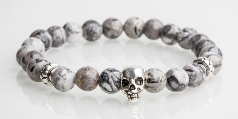 Iconbracelets Grey skull