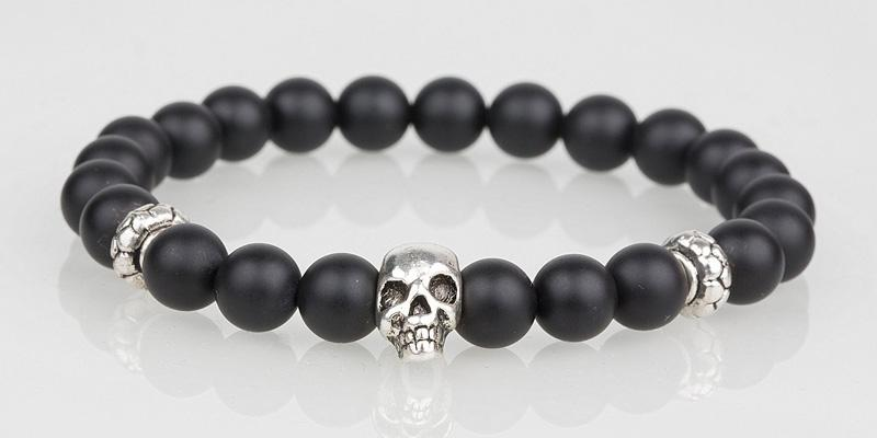 Iconbracelets Matt Black Tigereye skull