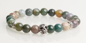 Iconbracelets Multi Color Green skull 8MM Icon Bracelets