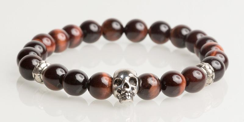 Iconbracelets Red Tigereye skull