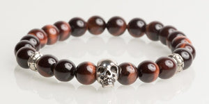 Iconbracelets Red Tigereye skull 8MM Icon Bracelets