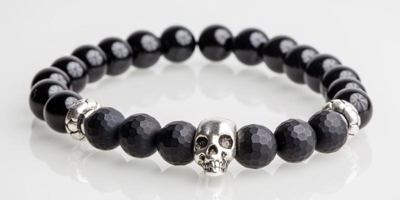 Iconbracelets skull Black / Black matt 8MM Icon Bracelets