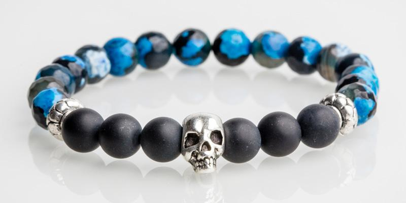 Iconbracelets skull Blue Fire