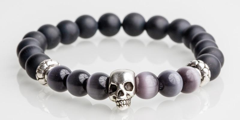 Iconbracelets skull Grey / Black