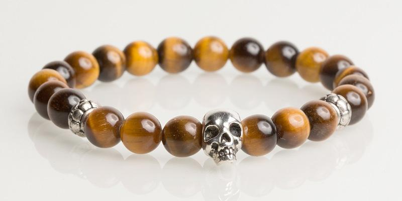 Iconbracelets Yellow Tigereye skull