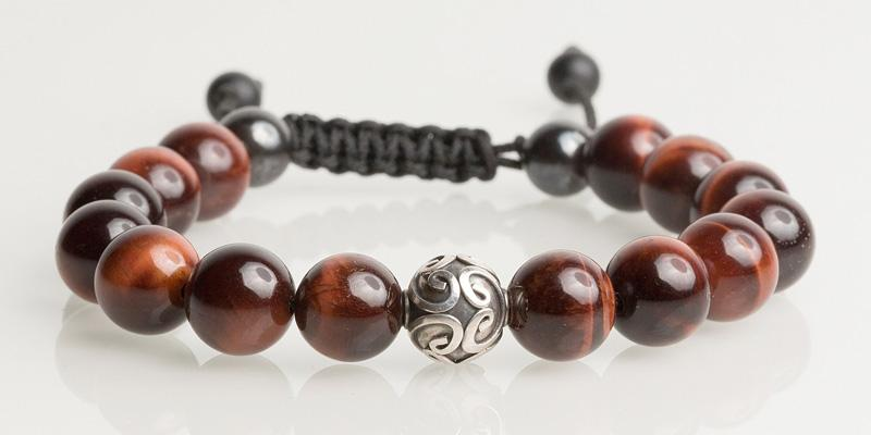 Silver Ball / Red Tiger Eye 10MM Icon Bracelets