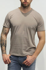 WOOL & CO - T-Shirt Basic V-Hals - Beige T-Shirts Wool & Co