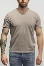 WOOL & CO - T-Shirt Basic V-Hals - Beige