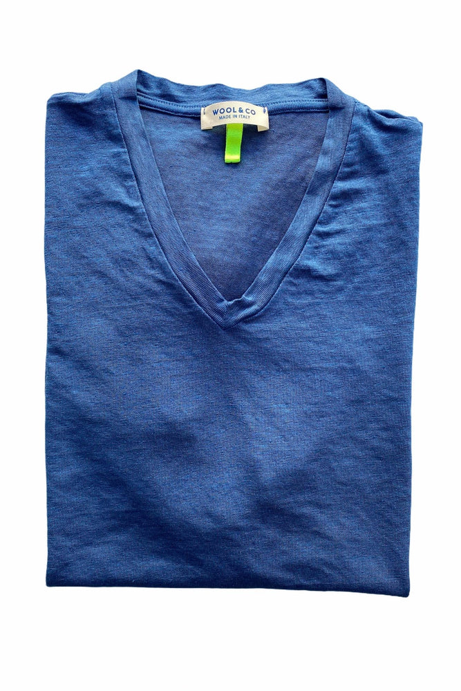 WOOL & CO - T-Shirt Linnen V-Hals - Blauw