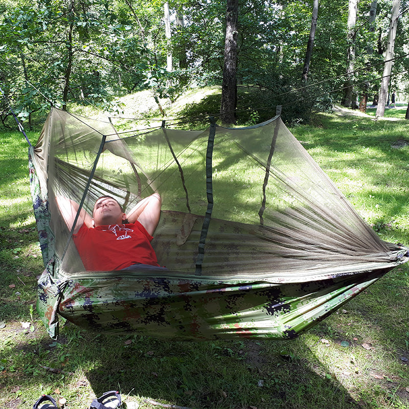 1-2 Person Outdoor Mosquito Net Parachute Hammock Camping Hanging Sleeping Bed Swing Portable  Double  Chair Hamac Army Green