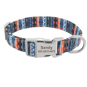 Custom Nylon Engraved Dog Collar Personalized Printed Pet Collar