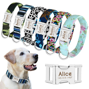 Personalized Nylon Pet Dog Tag Collar Custom Adjustable Nameplate ID Collar
