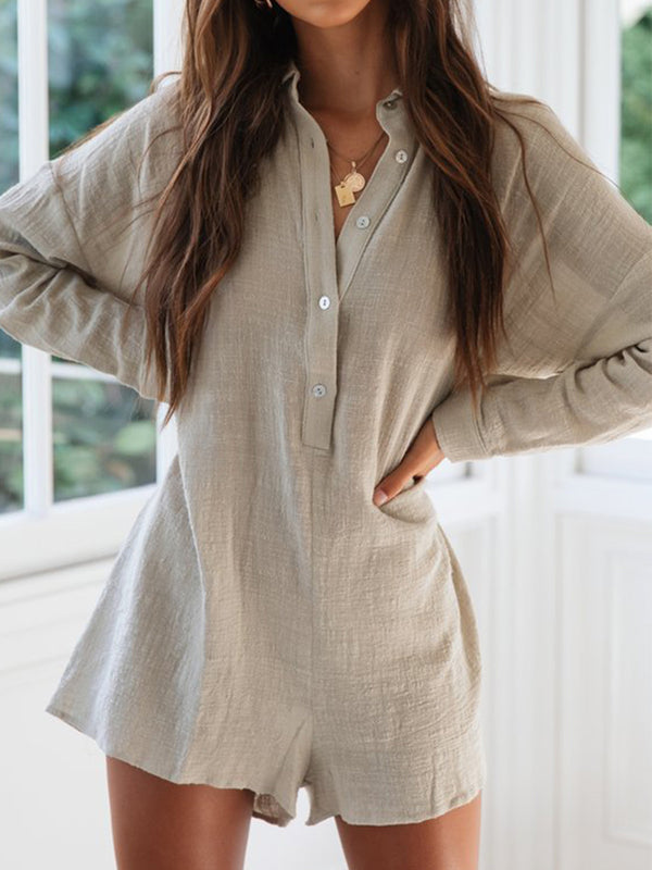 Button Up Cuffs Collared Neckline Long Sleeves Romper