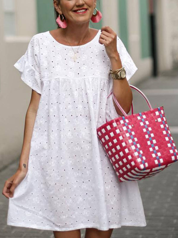 White A-Line Round Neck Sweet Cotton-Blend Dresses