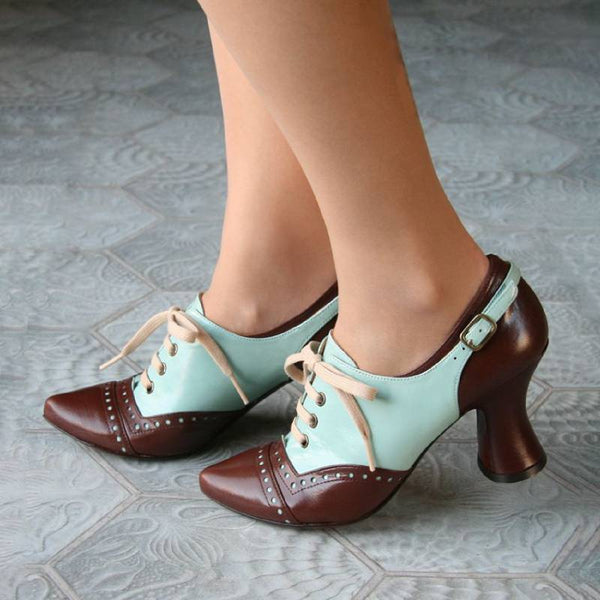 Vintage Elegant Lace-Up Stitching Women Shoes