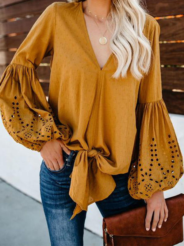 Balloon Sleeve Tie Top Blouse Shirt