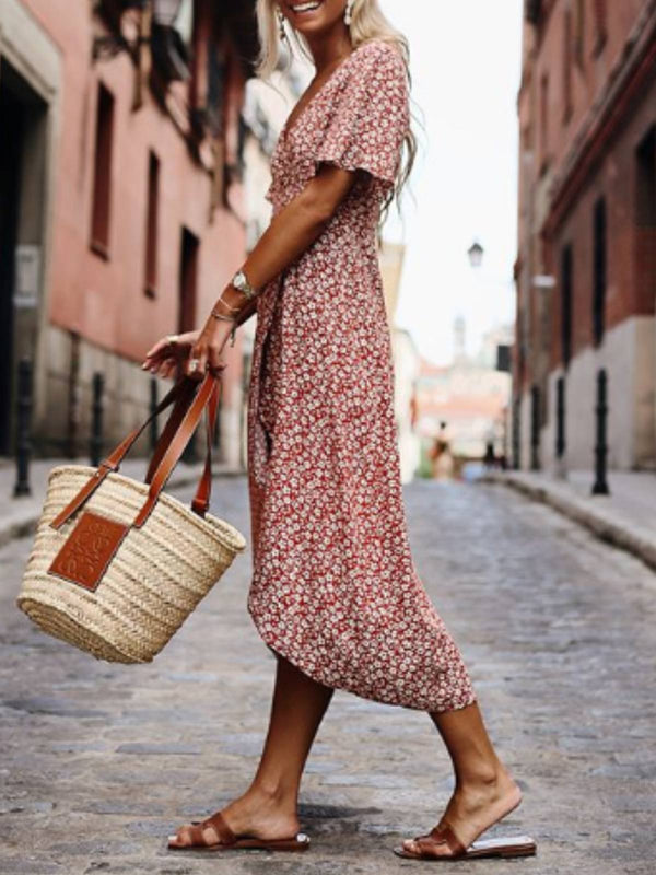 Printed Short Sleeve Swing Dresses