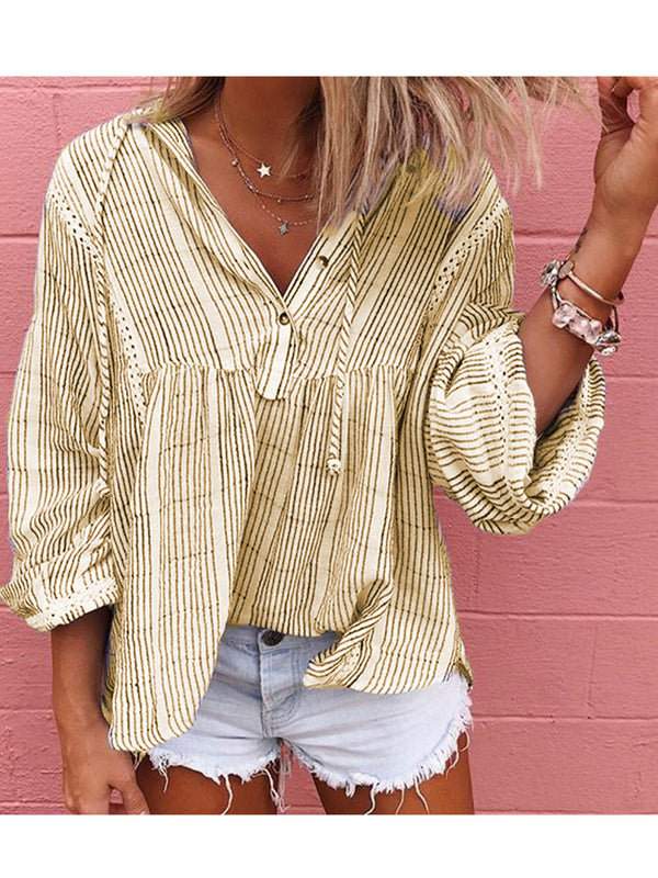 Women Striped Pullover Tops Shirts