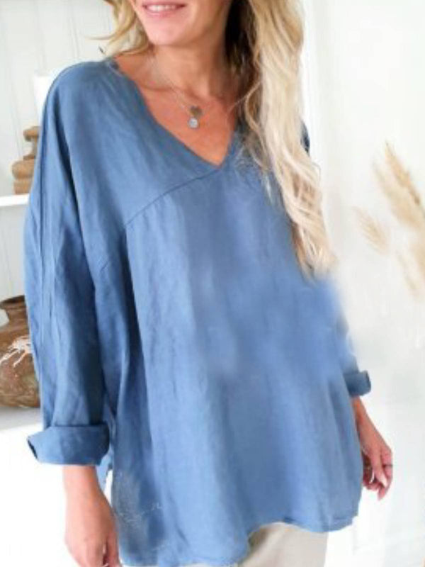 Long Sleeve Cotton-Blend Solid V Neck Shirts & Tops