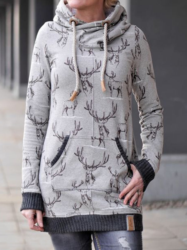 Gray Long Sleeve Cotton-Blend Abstract Outerwear