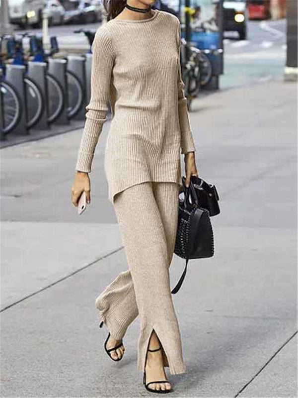 Slit Hem Knitted Long Sleeve Two Pieces Sets Suits