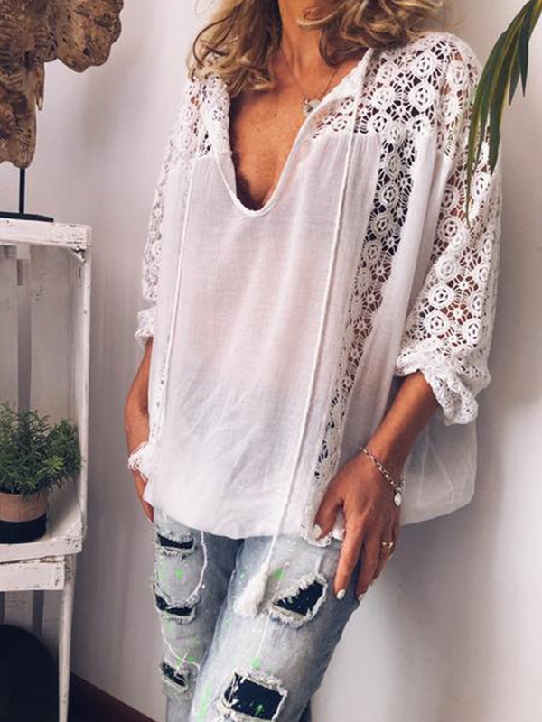 Women Summer Loose Casual Deep V neck Blouse Shirt Tops