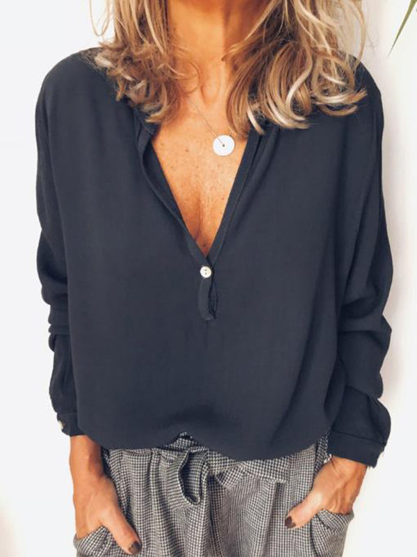 Casual V Neck Solid Buttoned Blouse