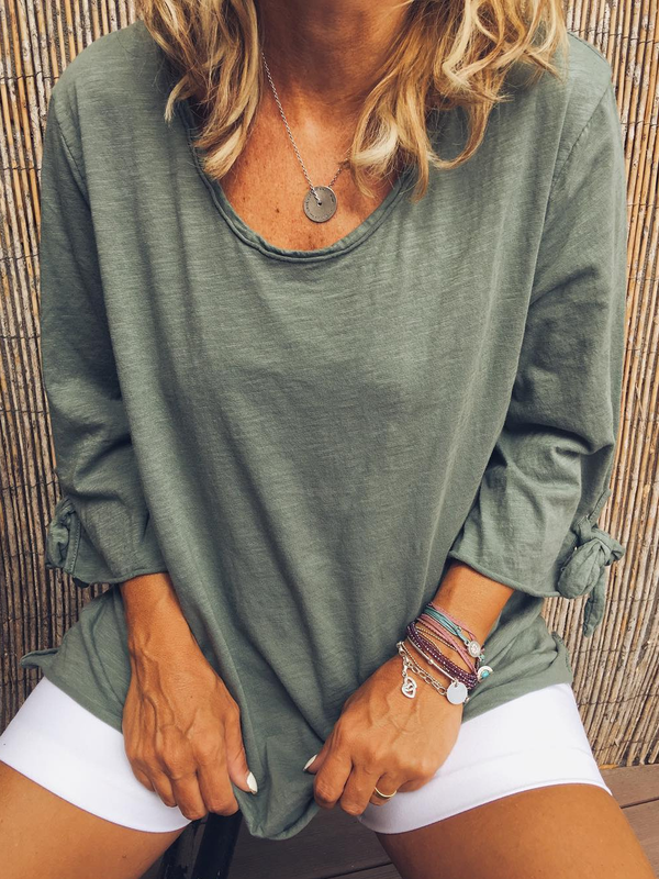 Crew Neck Long Sleeve Solid Shirts & Tops