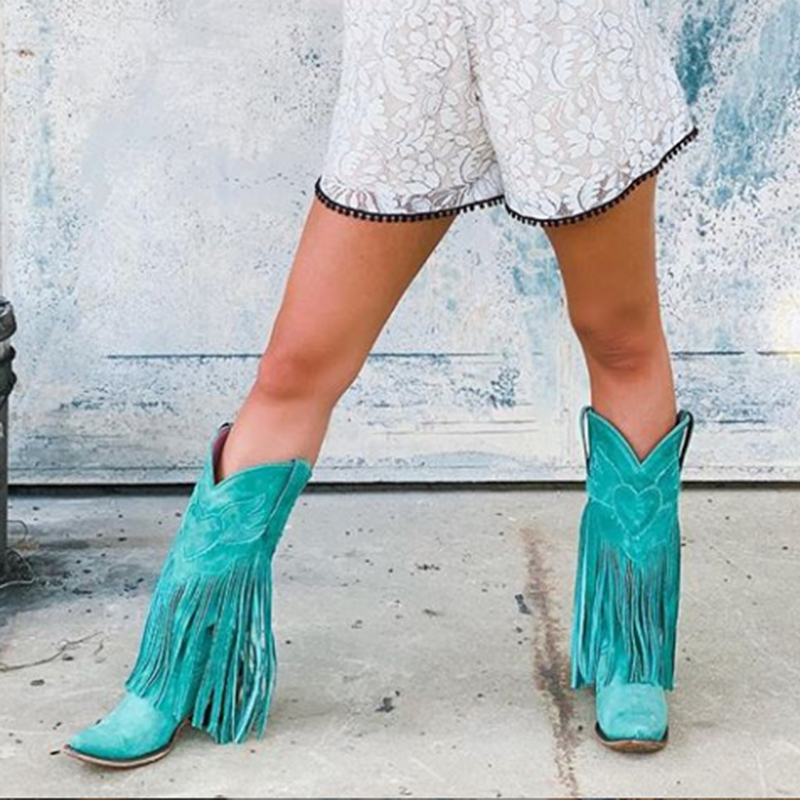 Green Casual Suede Low Heel All Season Boots