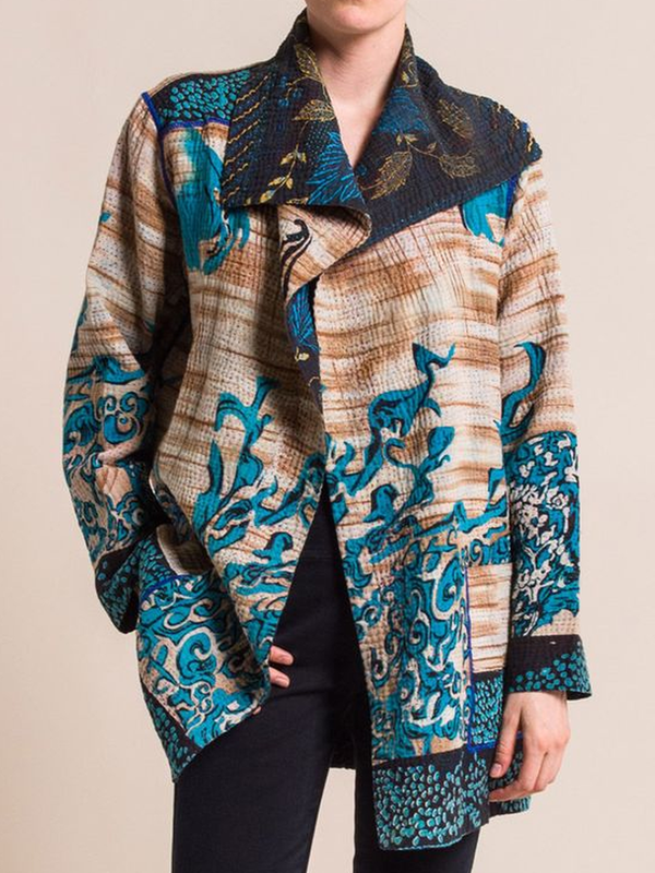 Shawl Collar Printed Long Sleeve Outerwear