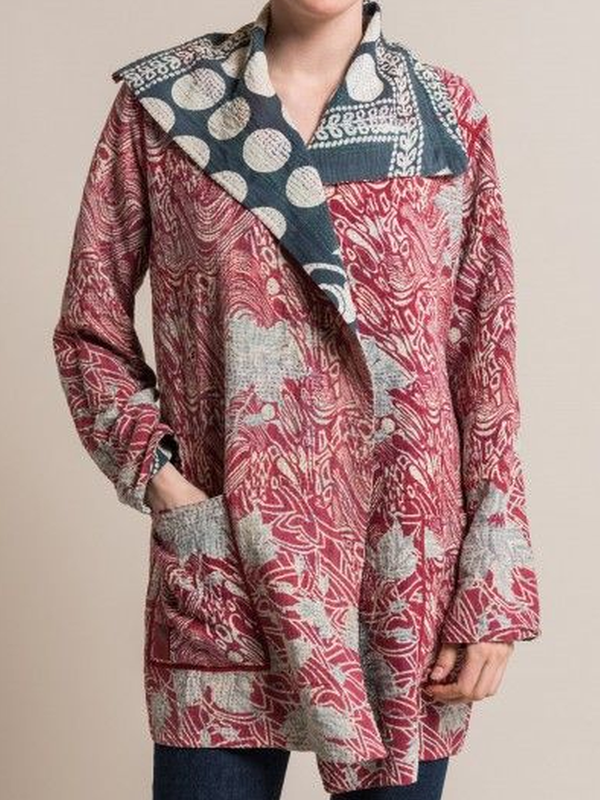 Printed Long Sleeve Vintage Shawl Collar Outerwear