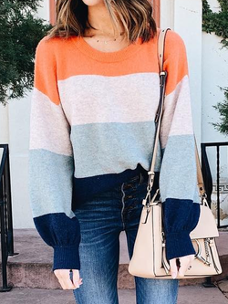 Crew Neck Knitted Casual Sweater