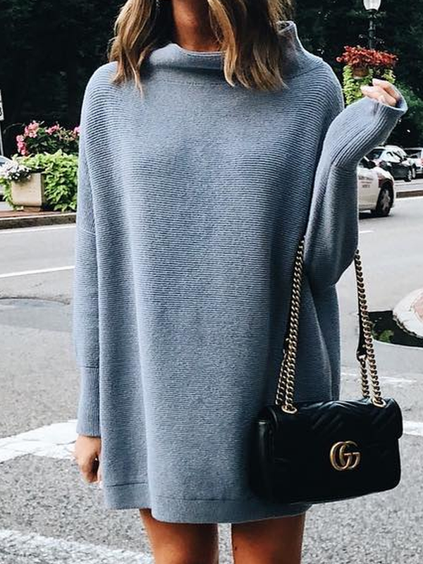 Solid Turtleneck Long Sleeve Casual Sweater