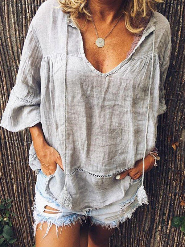 V Neck Short Sleeve Solid Shirts & Tops
