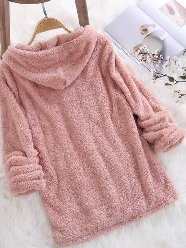 Hoodie Faux Fur Casual Long Sleeve Shirts & Tops