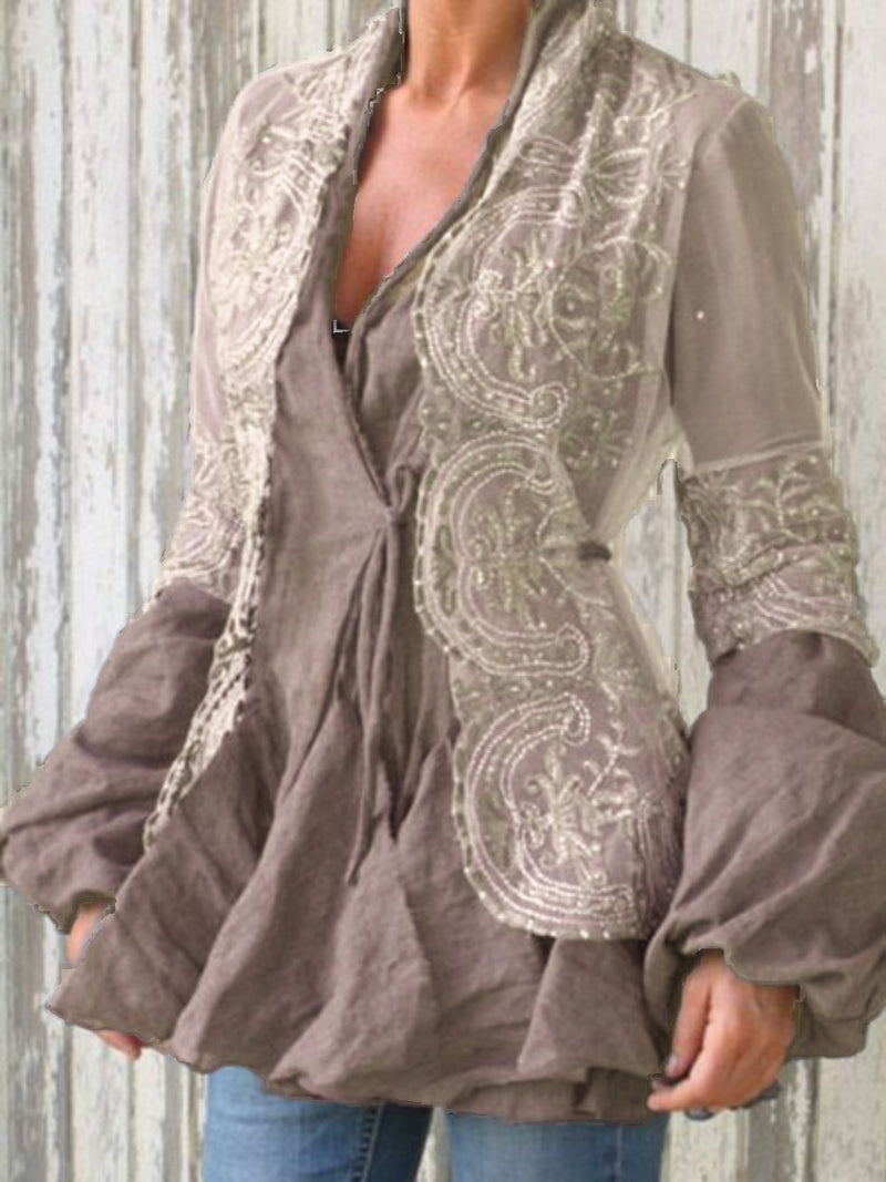 Casual Patchwork V Neck Long Sleeve Shirts