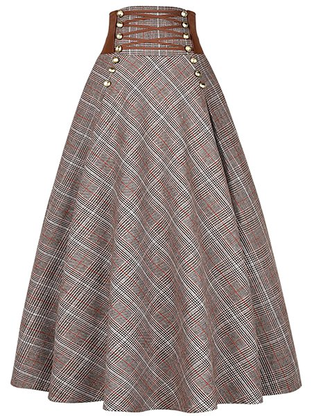 Long Vintage Plaid Skirt