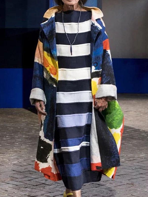 Hooded Printed Patchwork Color-block Long Sleeve Vintage Outerwear