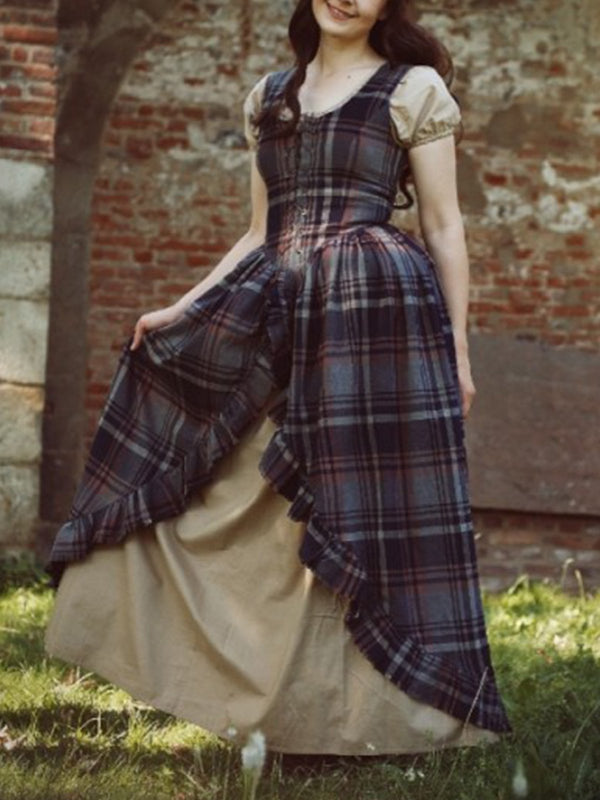medieval Cotton Checkered/plaid Vintage Dresses