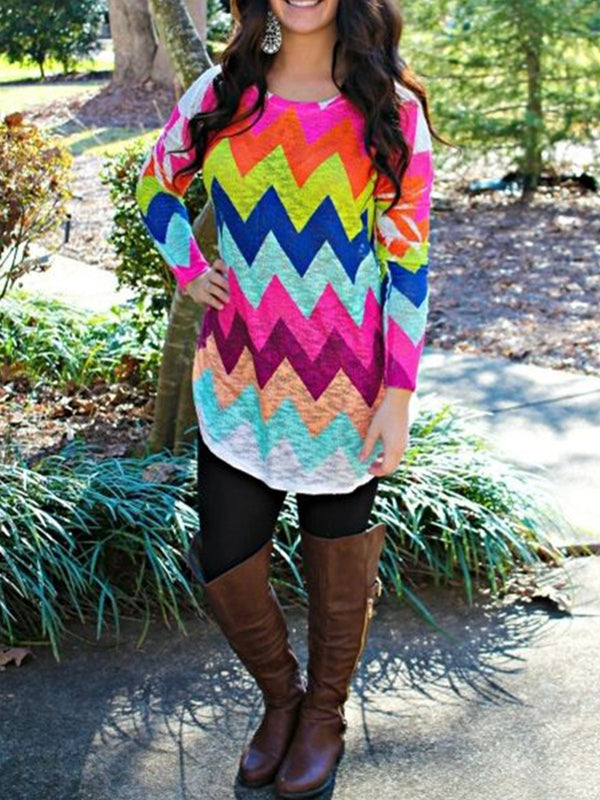 Multicolor Long Sleeve Cotton-Blend Patchwork Shirts & Tops