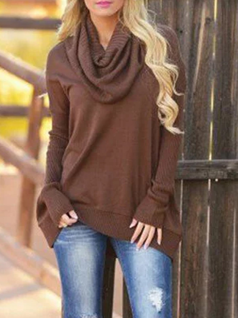 Cowl Neck Casual Patchwork Knitted Sweater