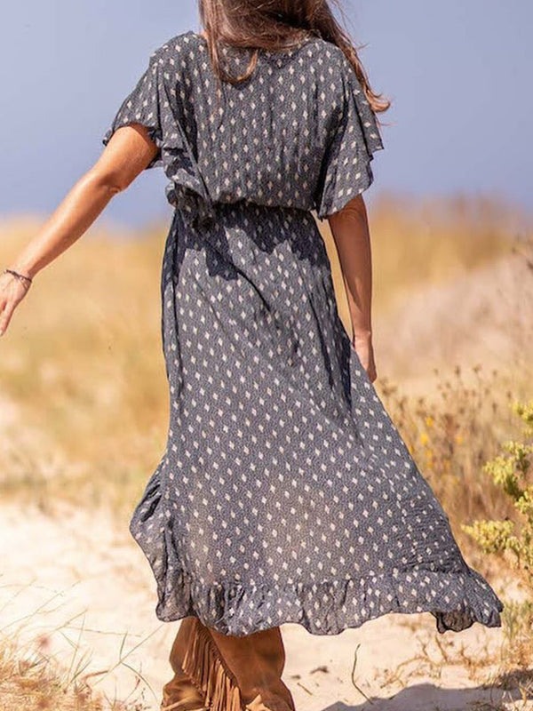 Floral Cotton-Blend Short Sleeve V Neck Dresses