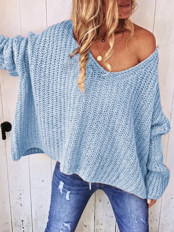 Plus Size Casual V Neck  Long Sleeve Solid Sweater