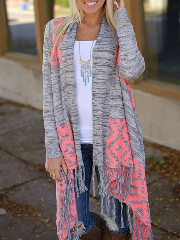 Light Gray Knitted Patchwork Long Sleeve Outerwear