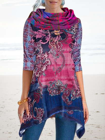Floral-Print Boho Cowl Neck Shirts & Tops