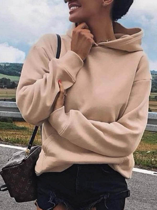 Beige Solid Long Sleeve Shirts & Tops