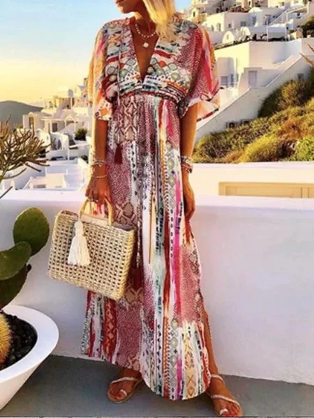 Patchwork Short Sleeve Boho Swing Dresses