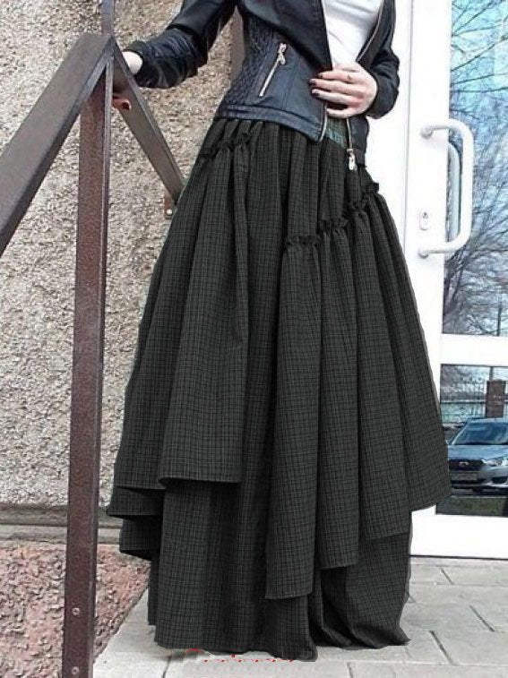Checkered/plaid Asymmetric Vintage Skirts